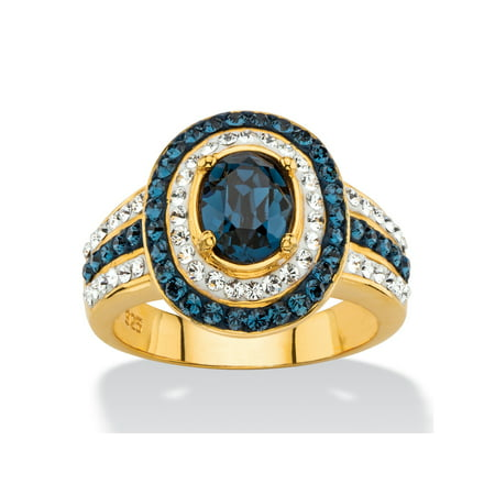 - Oval-Cut Simulated Blue Sapphire Halo Cocktail Ring MADE WITH SWAROVSKI ELEMENTS in 18k Gold over Sterling Silver