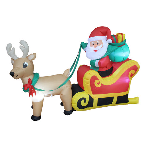The Holiday Aisle Christmas Inflatable Santa Claus on Sleigh with Reindeer