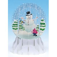 Up With Paper Holiday Snowman Snowglobe Pop-Up Christmas Card