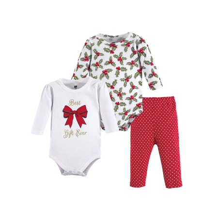 Holiday Long Sleeve Bodysuit & Pants, 3pc Outfit Set (Baby
