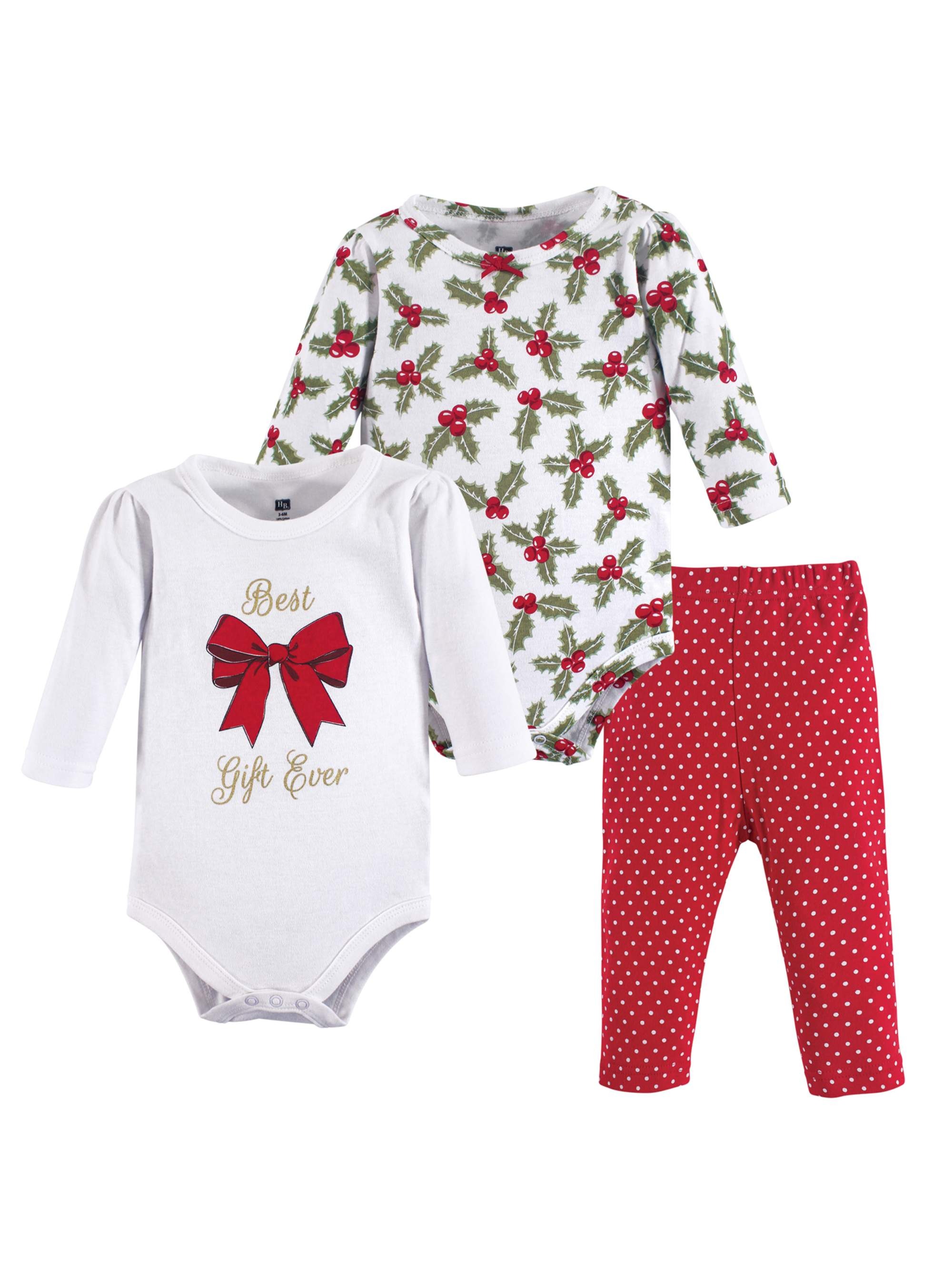 Holiday Long Sleeve Bodysuit & Pants, 3pc Outfit Set (Baby Girls)