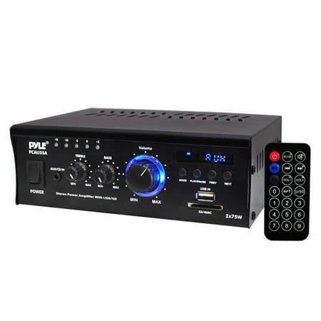 PYLE PCAU35A - Digital Stereo Amplifier - Compact Audio Speaker Amp, AUX Input, USB/SD Readers, LED Display, 2 x 75 Watt