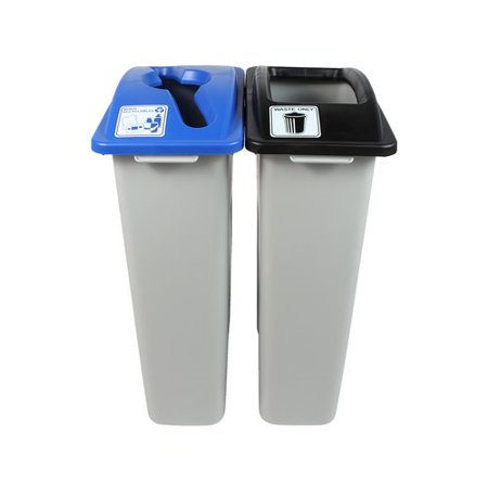 Busch Systems Waste Watcher  Mixed Recyclables Double 46 Gallon 2 Piece Recycling Bin and Trash Can Set