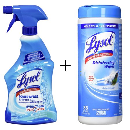 Bathroom Cleaner Spray, Power and Free Trigger, Cool Spring Breeze, 650ml  By Lysol + Disinfecting Surface Wipes, 35 Wipes,Sanitizing By Lysol