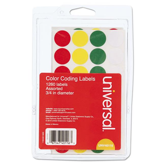Universal Office Products 40116 0. 75 inch Permanent Self-Adhesive Color-Coding Labels - Assorted