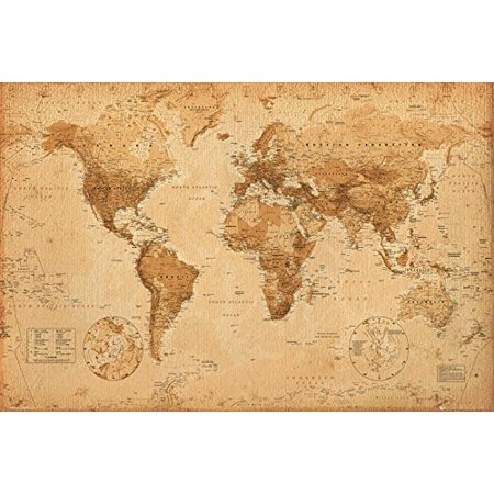 World Map (Antique) Art 24x36 Poster (24x36) Unframed..., By GB Eye Ship from US