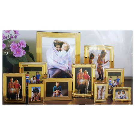 Home Accents Lifestyle 10 Piece Brass Metal Photo Frame Set