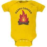 Hiking Happy Camper Campfire Soft Baby One Piece Yellow 12-18 M