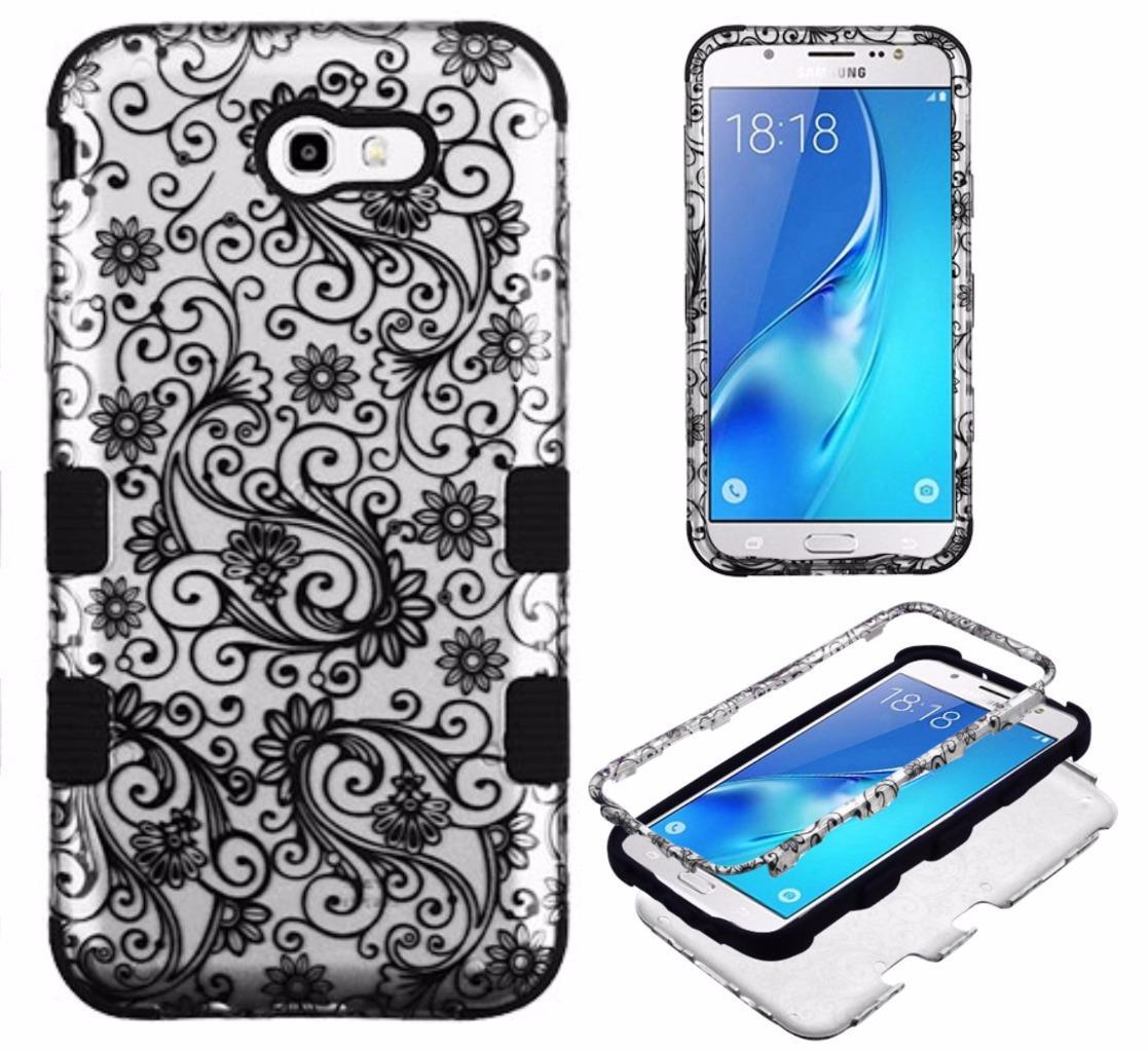 [World Acc] For Samsung Galaxy Halo / Galaxy J7 Prime / Galaxy J7 J727 / Galaxy J7 Perx / Galaxy J7 Sky Pro / Galaxy J7V J7 V Case Tuff Armor Hybrid Phone Cover (Black Clover Silver/Black)