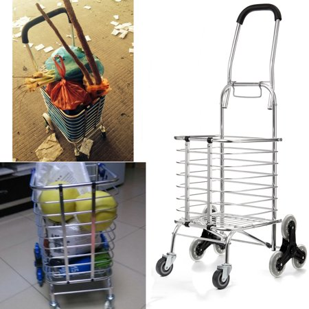 Folding Stair Climbing Shopping Cart Trolley Home 8 Wheels Stair Climber Christmas Gift Wheel Roller Portable Foldable Stainless Steel Travel Outdoor 60KG Load Jeteven US ()