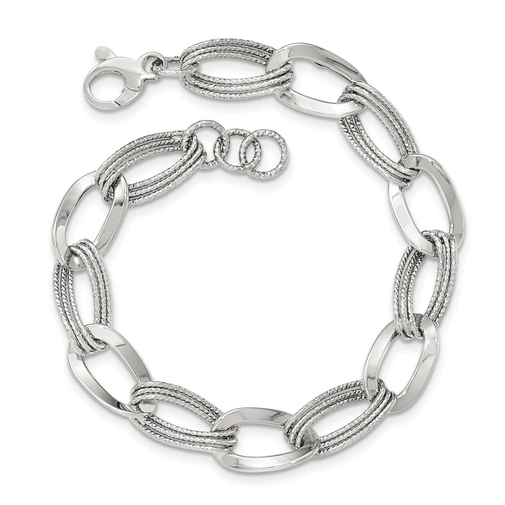 """Solid 14k White Gold Polished Fancy Link Bracelet 8"""" with Secure Lobster Lock Clasp by AA Jewels"""