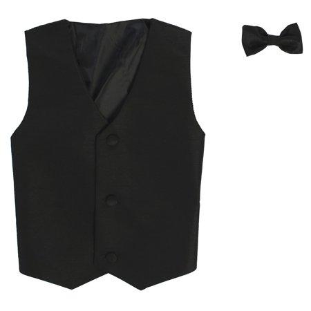 (Baby Boys Black Poly Silk Vest Bowtie Special Occasion Set 12-24M)