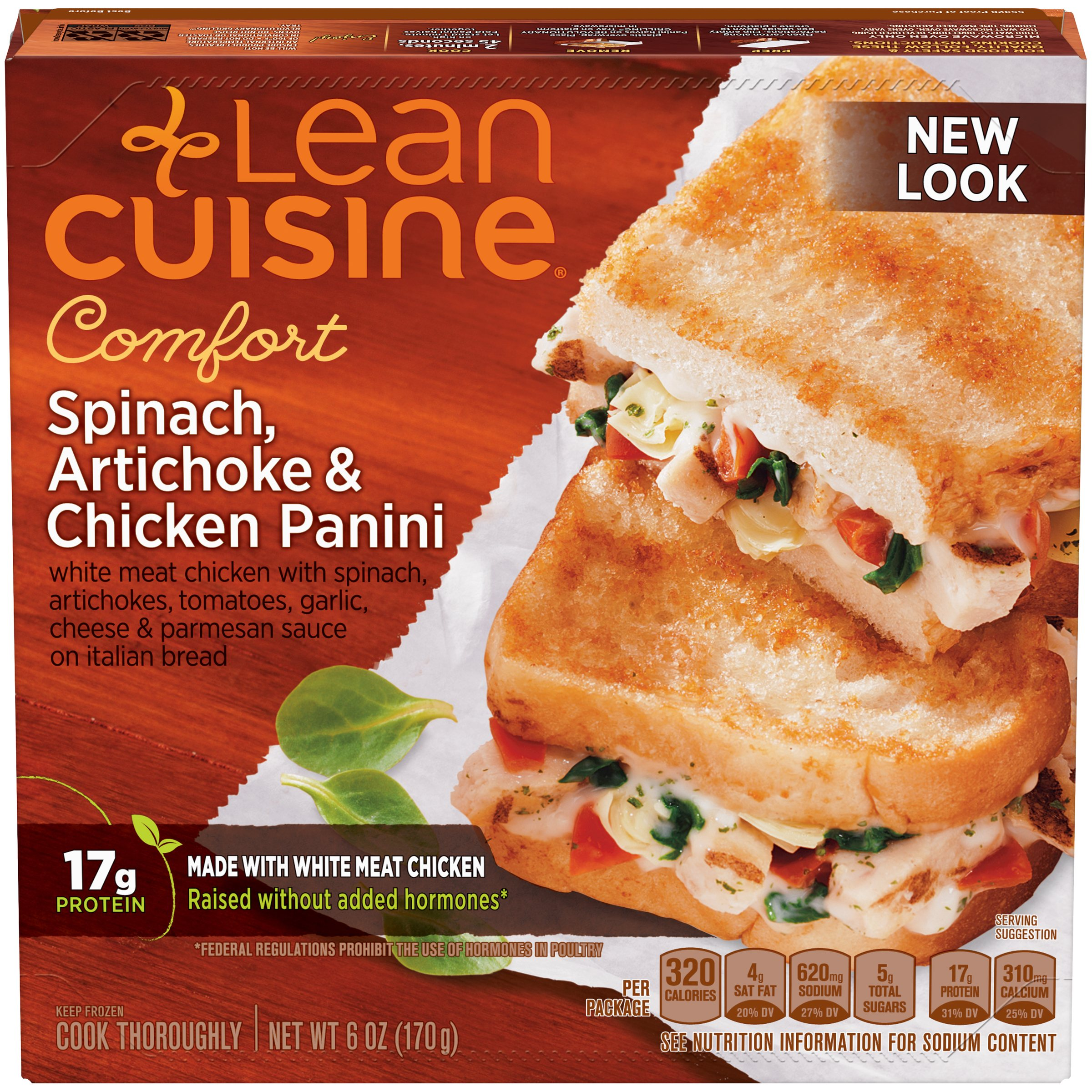 LEAN CUISINE CRAVEABLES Spinach, Artichoke & Chicken Panini 6 oz. Box