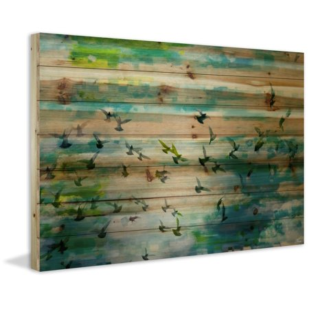 Acadia Street Painting Print on Natural Pine Wood ()