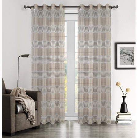 Urbanest Addie Striped Semi-Opaque Grommet/Eyelet Curtain Panel Pair (Set of