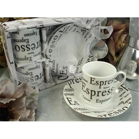 DLusso Designs 2D20 2 Cup 2 Saucer Pvc Box Espresso, Pack Of - 4.