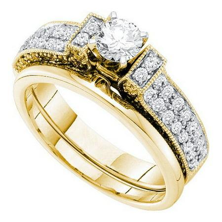 14K Yellow Gold 1.00ctw Pave Diamond Milgrain Bridal Set Ring W/0.40ctw Center