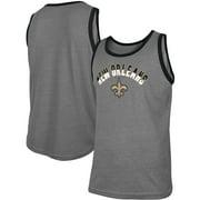 New Orleans Saints New Era Ringer Tri-Blend Tank Top - Heathered Gray