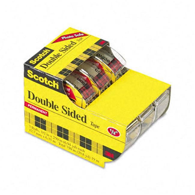 3M 3136 665 Double-Sided Office Tape in Hand Dispenser  1/2   x 7 Yards  Three/Box