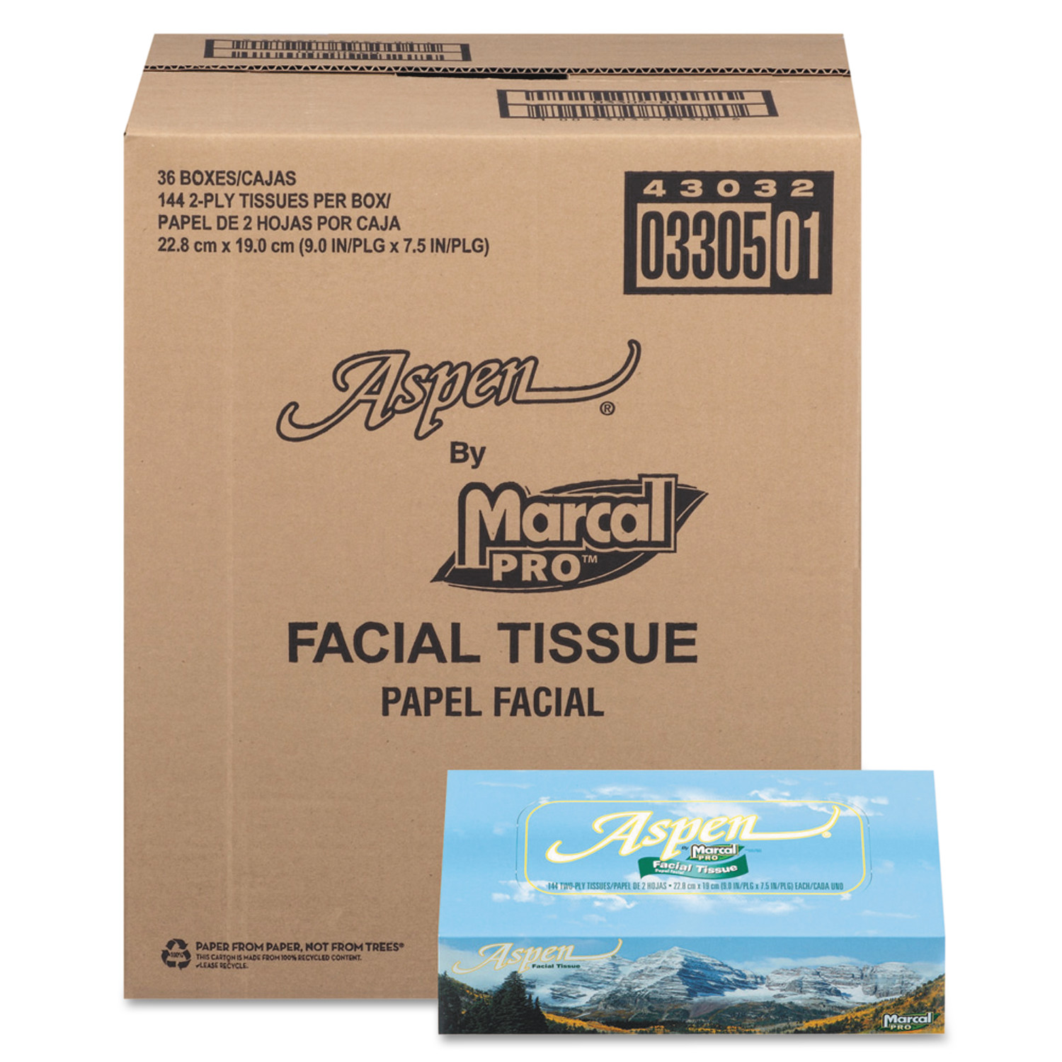 Marcal Pro Aspen 2-Ply Facial Tissue 144 Ct Box