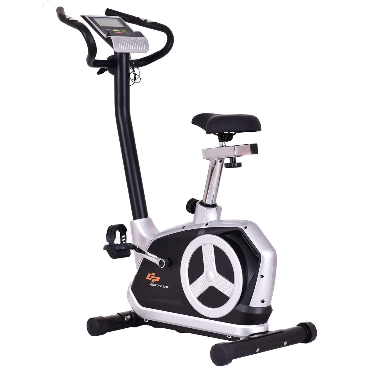 Goplus Magnetic Resistance Upright Bike Flywheel Cardio Fitness w/ Phone Holder