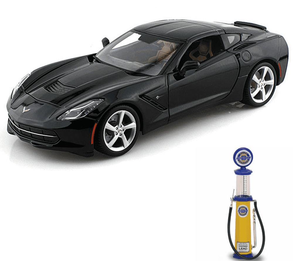 Chevy Diecast Car & Gas Pump Package 2014 Chevy Corvette Stingray, Black Maisto 31182 1 18... by Maisto