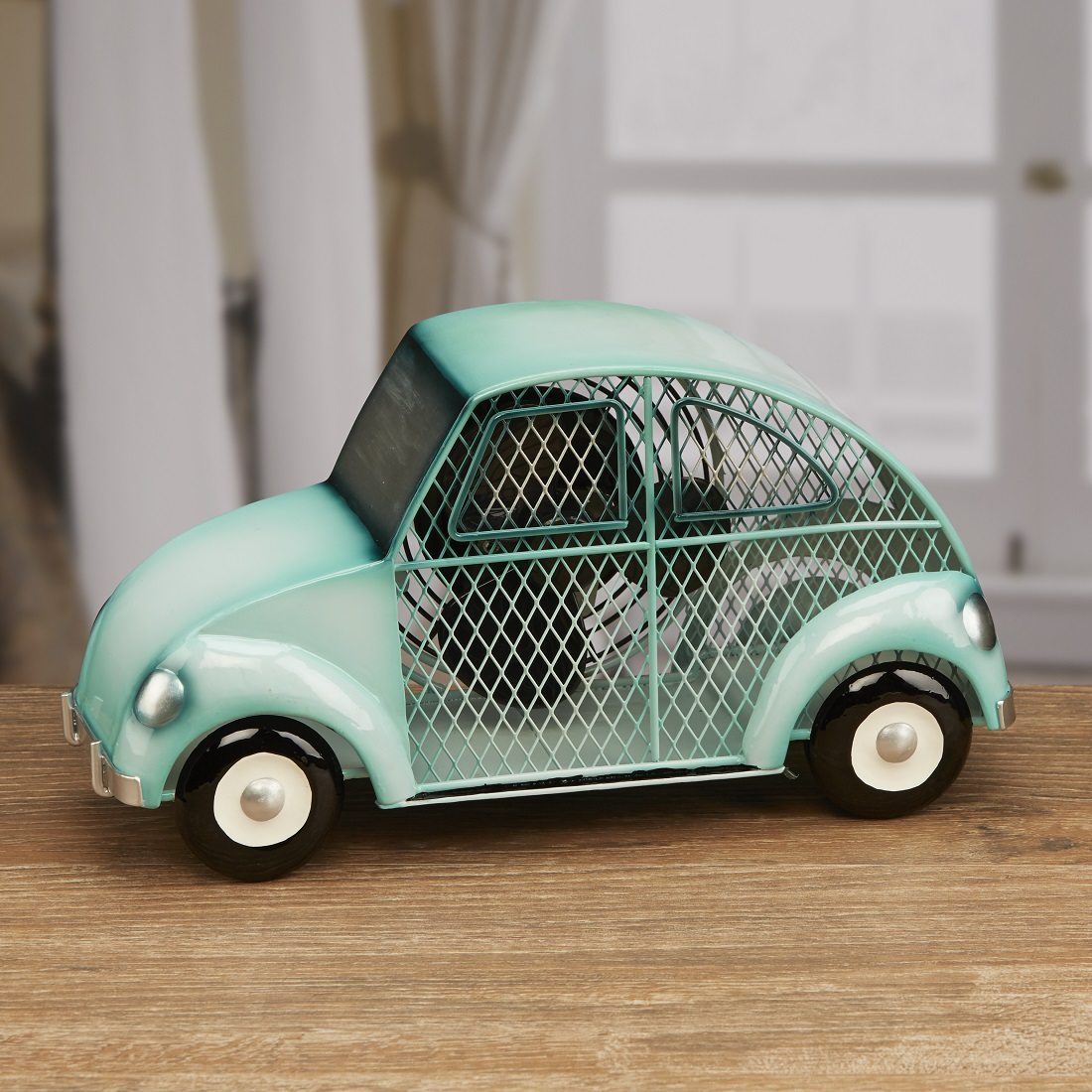 "13"" Hand Sculpted Metal Mint Green Retro Car Table Top Figure Fan"
