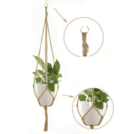 Brand New Macrame Rope Plant Hanger Basket Flower Pot Hanging Holder Garden Decor Flower Pot Hemp Rope Hanging Net - image 2 of 7