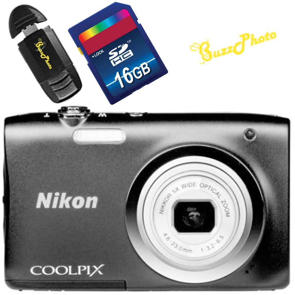 Nikon COOLPIX A100 Black Digital Camera with Free BuzzPhoto Accessories