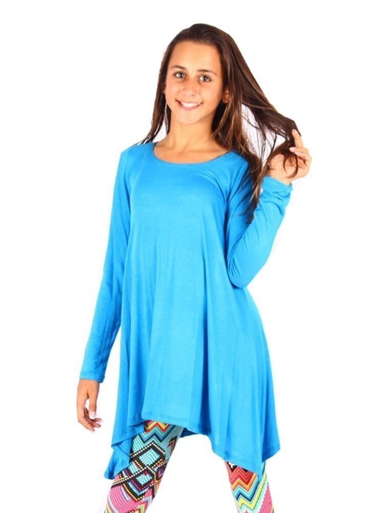Lori&Jane Girls Turquoise Solid Long Sleeved Uneven Length Trendy Top