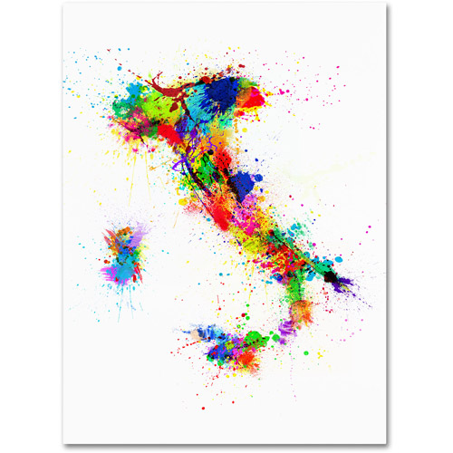 Trademark Art 'Italy Paint Splashes Map' Canvas Art by Michael Tompsett