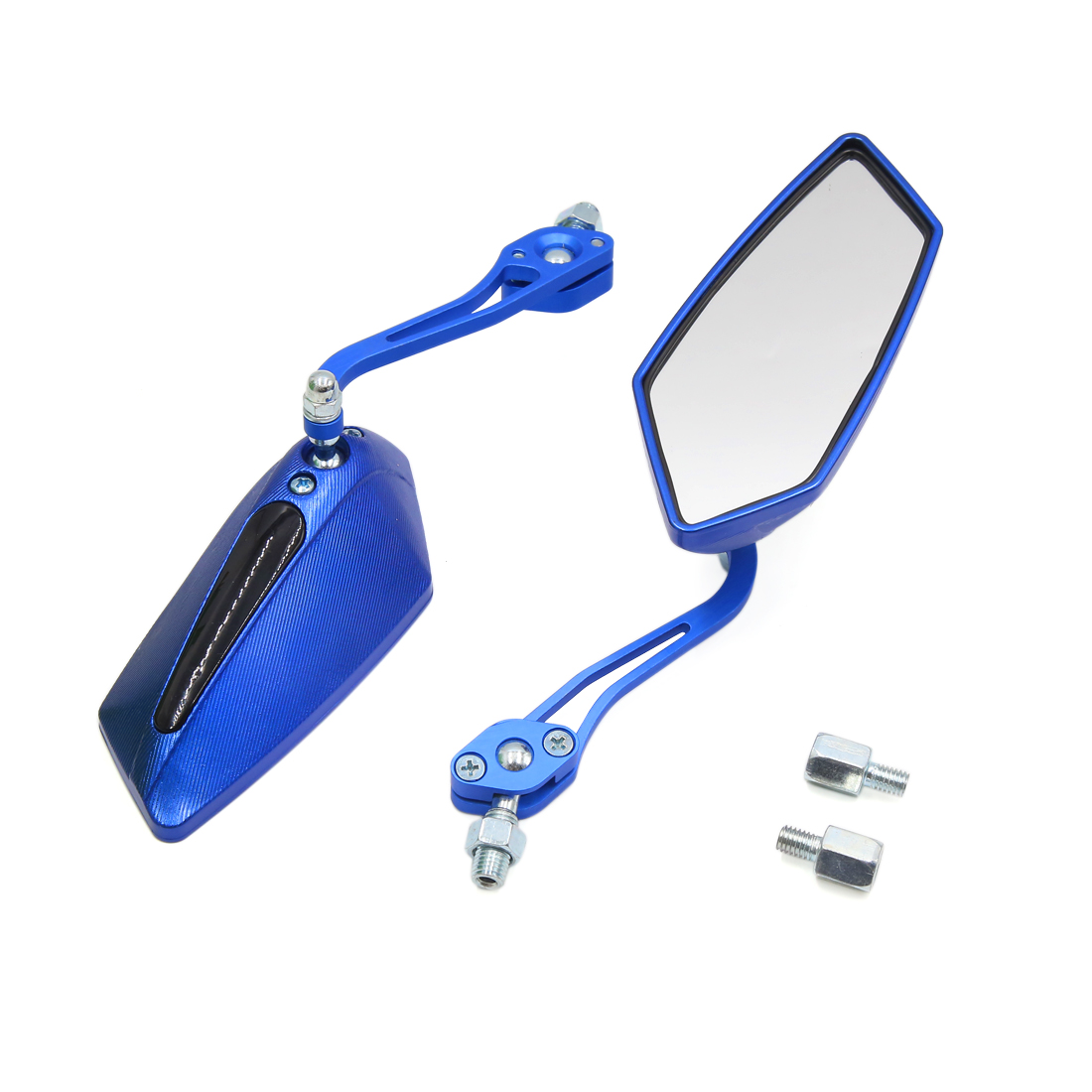 Pair Blue Adjustable Pentagon Rearview Blind Spot Mirror for Motorcycle Scooter