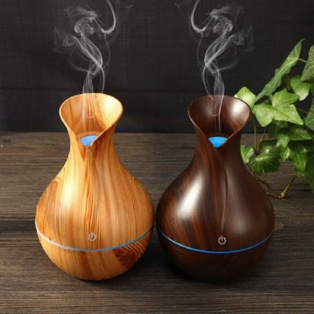 Essential Oil Diffuser 130ml Mini Aroma Wood Grain Cool Mist Humidifier for Office Home Study Yoga Spa Baby Auto