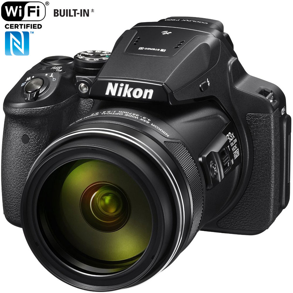 Nikon COOLPIX P900 16MP Super-Zoom Digital Camera with 83x Optical Zoom and Built-In Wi-Fi and NFC (Black)(Certified Refurbished)
