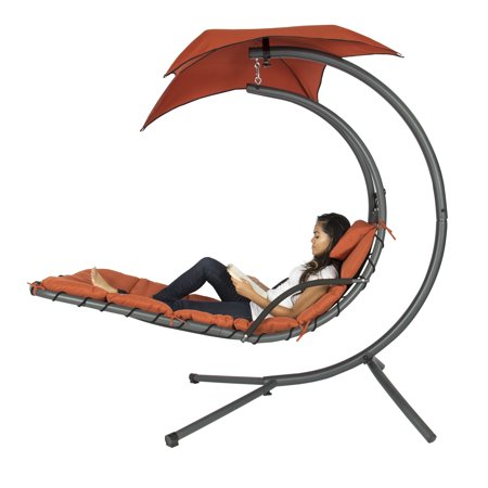 Best Choice Products Outdoor Hanging Curved Steel Chaise Lounge Chair Swing with Built-In Pillow and Removable Canopy, Orange
