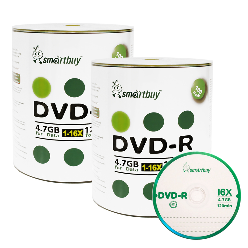 200 Pack Smartbuy 16X DVD-R 4.7GB 120Min Logo (Non-Printable) Data Blank Media Recordable Disc