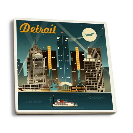 Detroit  Michigan   Retro Skyline   Lantern Press Artwork  Set Of 4 Ceramic Coasters   Cork Backed  Absorbent