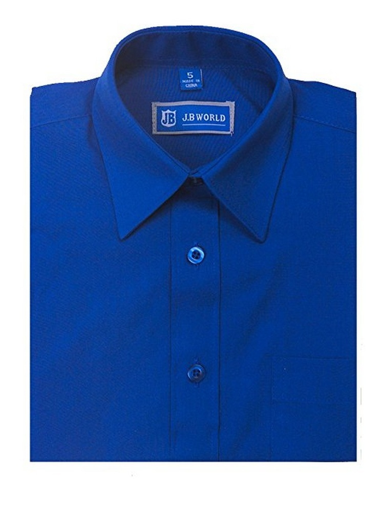 JB World Boys Royal Blue Short Sleeve Button Front Uniform Dress Shirt