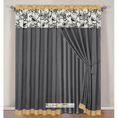 4-Pc Striped Felt Oasis Floral Garden Curtain Set Yellow Gray Black Off-White Valance Drape