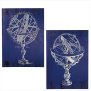 Set of 2 Distressed Finish Midnight Blue and Platinum White Retro Globe Wall Art Decorations 27.5""