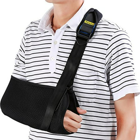De Shoulder Pads - Yosoo Arm Sling - Dislocated Shoulder Sling for Broken Arm Immobilizer Wrist Elbow Support - Ergonomic, Lightweight, Breathable Mesh, Neoprene Padded Strap - Suits both Men & Women, One size (Adult)