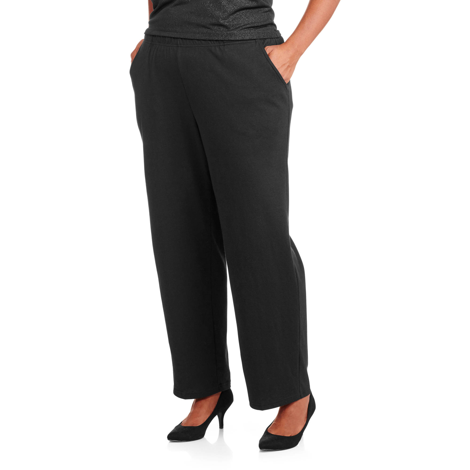 White Stag Women's Plus-Size Essential Pull-On Knit Pants, Available in Regular and Petite Lengths