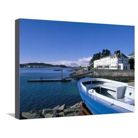 Boat and Lochalsh Hotel, Kyle of Lochalsh, Scotland Stretched Canvas Print Wall Art By Pearl (Kyle Wall Fixture)