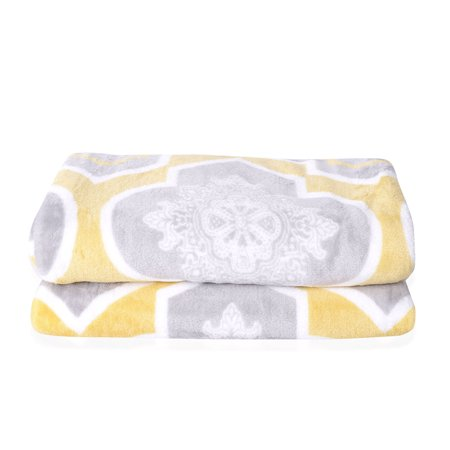 Gray and Yellow Moroccan Pattern Flannel Throw Blanket with Knitted Border 100% Microfiber Cable Knit Baby Blanket Pattern