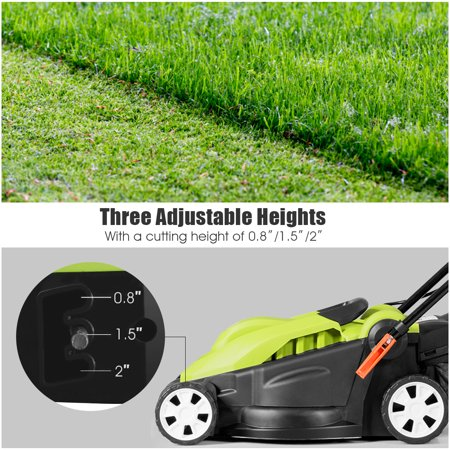 14-Inch 12Amp Lawn Mower w/Folding Handle Electric Push Lawn Corded Mower Green - image 2 of 10