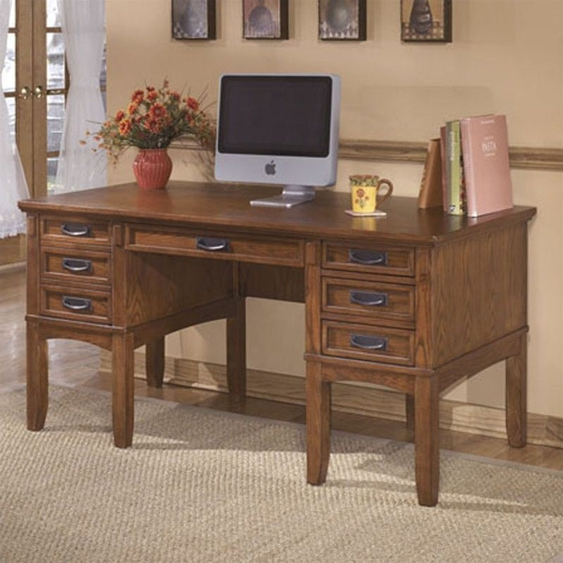 Signature Design by Ashley Furniture Cross Island Office Storage Leg Desk in Medium Brown
