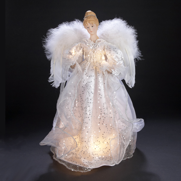 "17"" Lighted Angel in White Sequined Dress Christmas Tree Topper - Clear Lights"