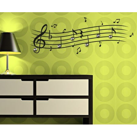 Music Notes Wall Decal Hanger - Musical Notes Wall Sticker, Treble ...