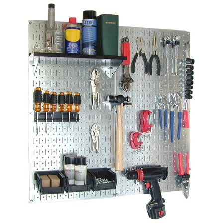 Steel Pegboard Utility Tool Storage Kit - Galvanized Steel Pegboard & Black Accessories (Pegboard Storage)