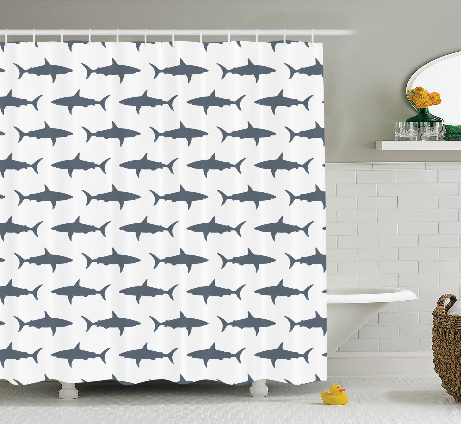 Sea Animals Decor  Sharks Swimming Horizontal Silhouettes...